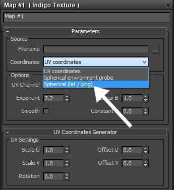 Selecting the coordinate use for the Indigo Texture map