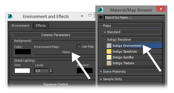 Selecting an Indigo Environment map