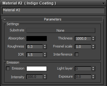 Coating material settings
