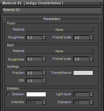 Double-sided material settings