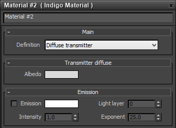 Diffuse transmitter material settings