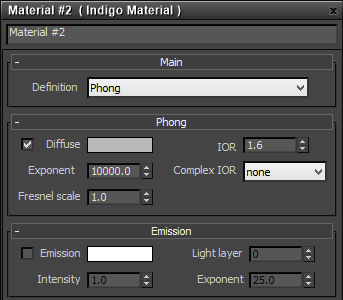 Phong material settings