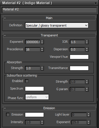 Specular / glossy transparent material settings