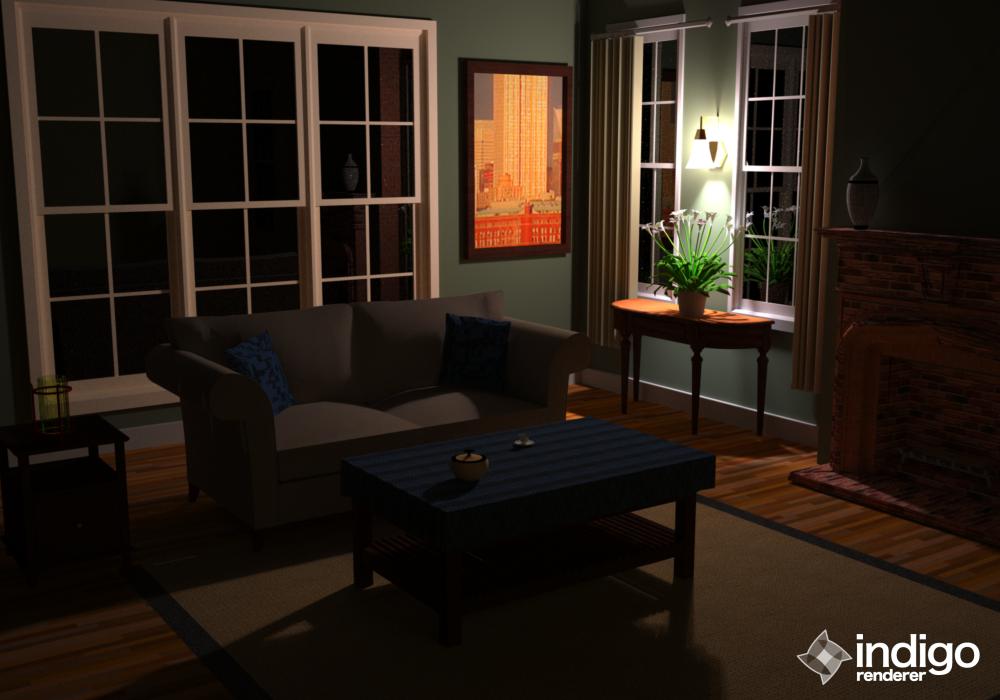 Room at night indigo renderer for The family room nightclub
