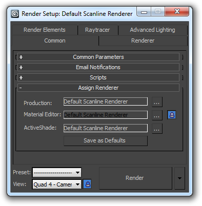 The Render Setup dialog (F10)