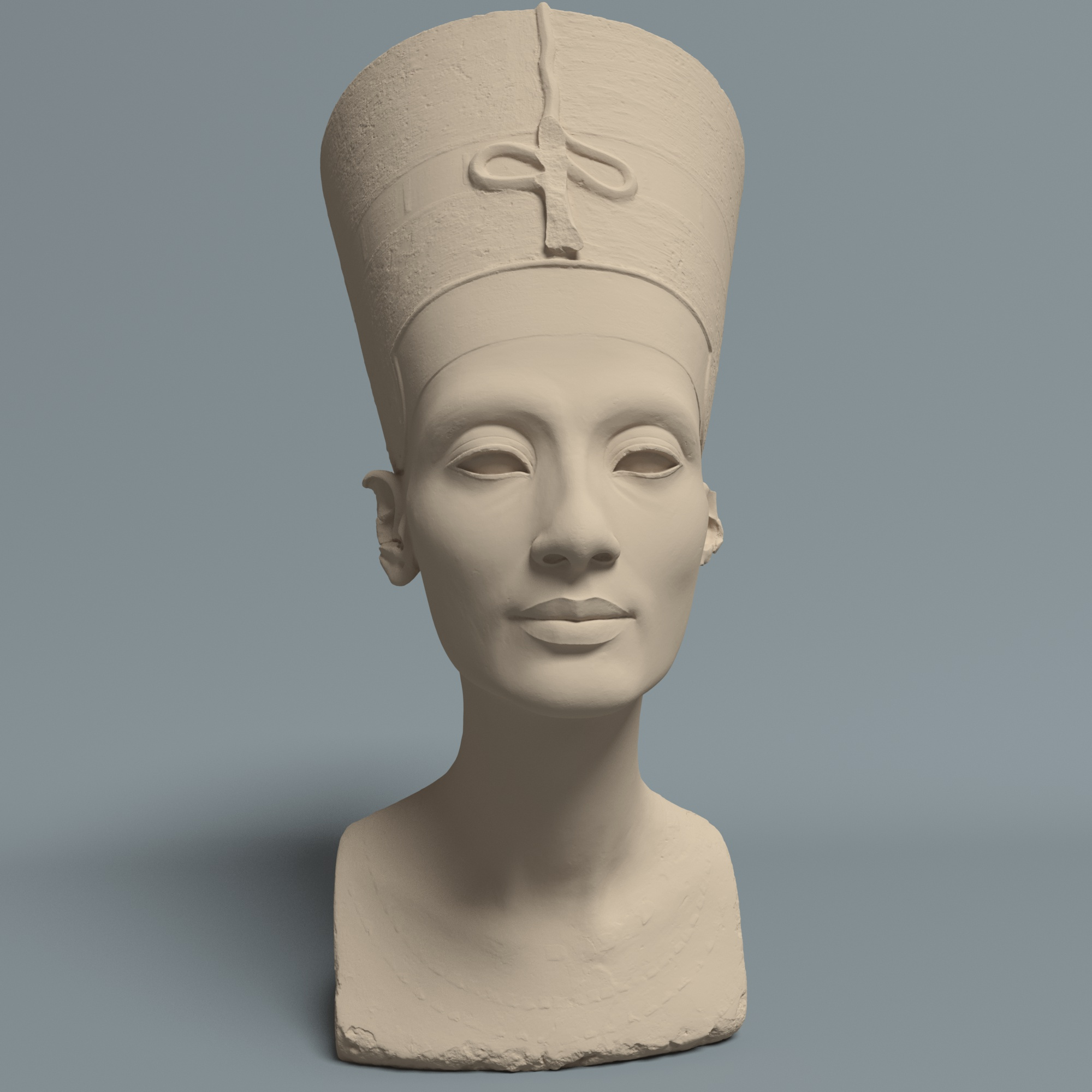 """the nefertiti bust """"the other nefertiti"""" is an artistic intervention by jan nikolai nelles and nora al-badri """"with the data leak as a part of this counter narrative within our investigative practice we want to activate the artefact, to inspire a critical re-assessment of today's conditions and to overcome the colonial notion of possession in germany""""."""