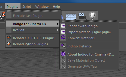 Indigo for Cinema 4D Plugin menu