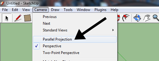 Selecting Parallel Projection from the Camera menu