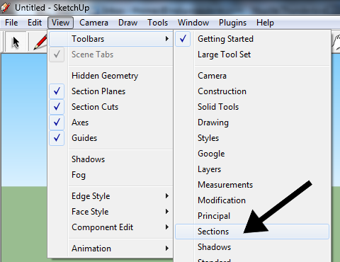 Enabling the Sections toolbar